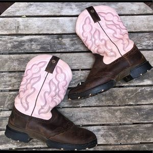 Justin pink brown western cowgirl boots 8.5